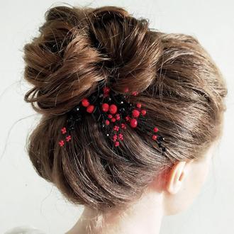Красно-черная шпилька в волосы