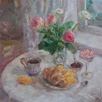 """Картина """"Розовое утро """" натюрморт с розами и апельсинами картина купить киев"""