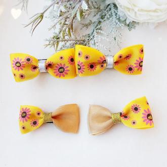 Бантики с цветами цветами банты для волос весенние резинки для девочек