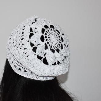 Шапка летняя Шапочка белоснежная с серебряными каплями Берет нарядный