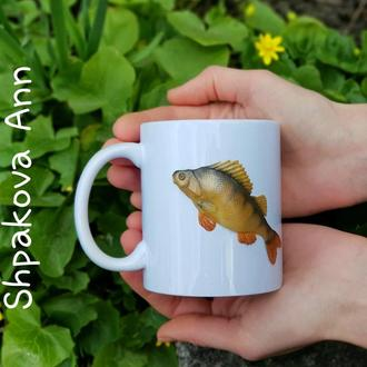 Чашка с Окунем- отличный подарок мужчине рыбаку