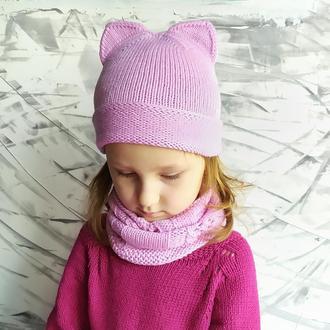Розовая детская котошапка, комплект шапка снуд