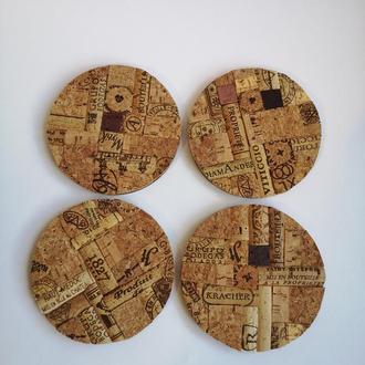 Комплект круглых подставок ручной работы из  пробковой мозаики ручной работы.