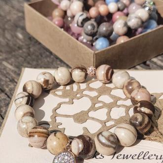Браслет из натуральных камней, браслет из яшмы, браслет на подарок, оберег)