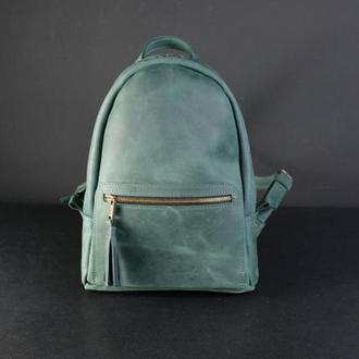 """Женский кожаный рюкзак """"Лимбо"""", размер мини, винтажная кожа, цвет зеленый"""