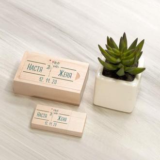 Деревянная USB флешка с именной печатью в подарочной коробке, 16-32 Гб