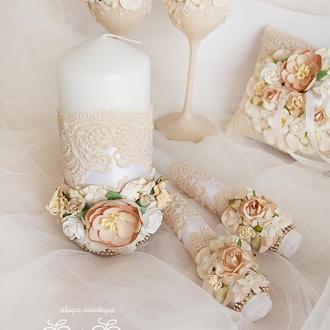Свадебные свечи бежевые / Венчальные свечи / Бежеві свічки для весілля / Карамельные свечи