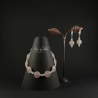 Комплект украшений из кварца и серебра 925 пр.