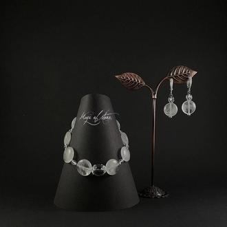 Комплект украшений из горного хрусталя и серебра 925 пр.
