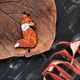 Геометрическая брошь Лисица. Полигональная оранжевая брошь Лиса. Оригінальна брошка Лисиця