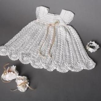 Крестильный набор: платье, пинетки, повязка