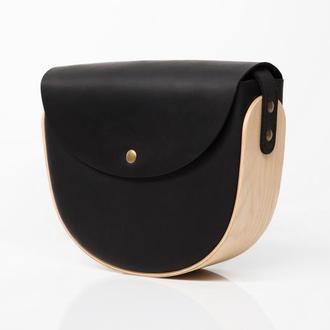 REA Black CH - сумка из натуральной кожи и дерева