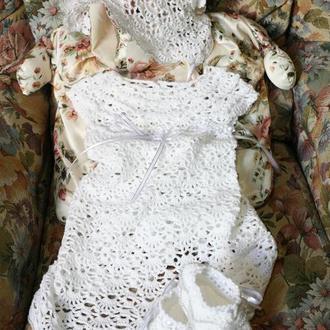 Крестильный набор: платье, пинетки, чепчик