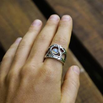 """Мужское серебряное кольцо с камнем Лабрадор """"METEOR"""""""
