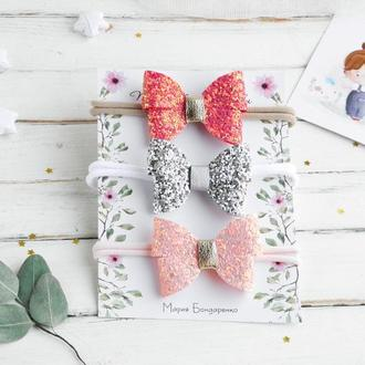 Красивая нежная повязка с бантиком бабочкой / Весенняя повязка для малышки в подарок