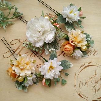 Свадебные шпильки персиковые с белым Аксессуары для свадебной прически Цветы в прическу невесты
