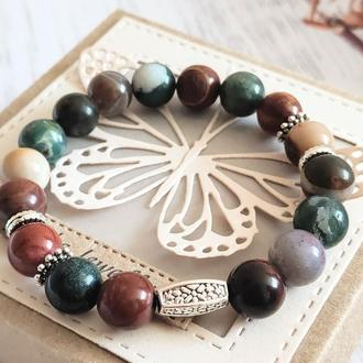 Браслет из натуральных камней, браслет из яшмы, браслет на подарок