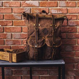 """Рюкзак роллтоп """"Cherokee"""" с отделением для ноутбука. Коричневый. Вощеный хлопок и натуральная кожа."""