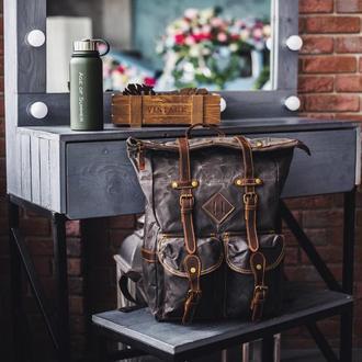 Эксклюзивный рюкзак роллтоп Cherokee. Для путешествий, фотоаппарата, ноутбука. Вощеный канвас. Кожа.