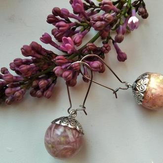 Серьги ручной работы с цветами