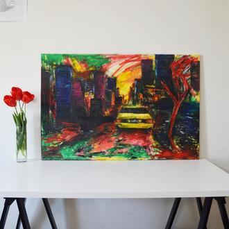 """Большая авторская картина маслом """"Нью-Йорк"""". 120х80 см. Холст на подрамнике. Единственный экземпляр"""