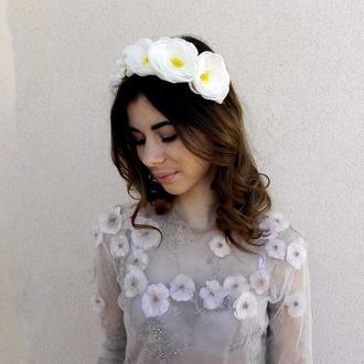 Белый цветочный обруч , ободок с цветами для волос , свадебное украшение для волос