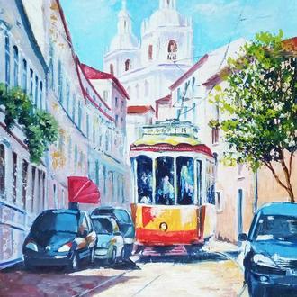 Картина, міський пейзаж Жовтий трамвайчик Лісабона