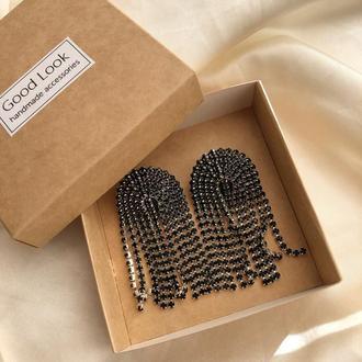 Стразовые серёжки, серьги со стразами, сережки из камней, стразові сережки, черные серьги гвоздики