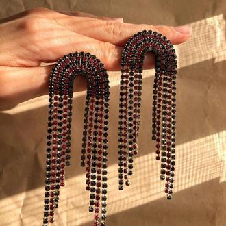 Стразовые серёжки, серьги со стразами, сережки из камней, стразові сережки, черные та красные серьги