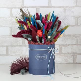 Букет «Восточная сказка» из сухоцветов в шляпной коробке