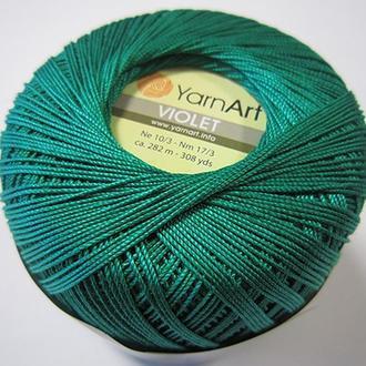 Пряжа YarnArt Violet Виолет изумруд зеленая две упаковки