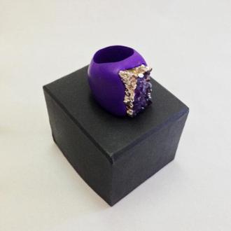 """Кольцо с аметистом в серебре """"Glory of Byzantium"""" на пурпурной основе"""