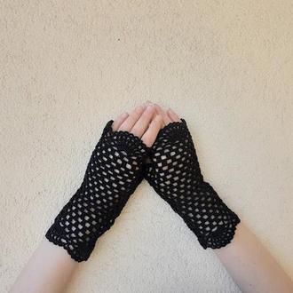 Митенки чёрные Красивые перчатки и в оперу и в театр и на дискотеку