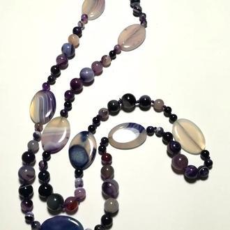 Длинные бусы из Агата, цвет фиолетовый и его оттенки, тм Satori \ Sk - 0008