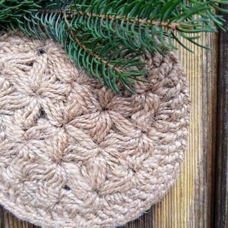 Мочалка натуральная круглая из джута (одевается на руку)