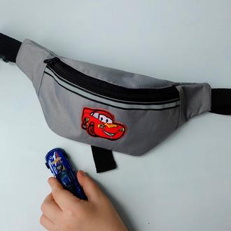 """Сумка-бананка с тачкой  """"Молния Маквин"""", детская поясная сумка, барсетка, нагрудная сумка 71(3)"""