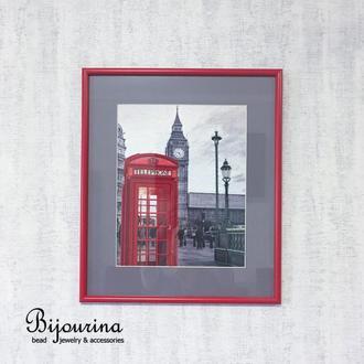 Домашнй декор. Вышивка бисером в английском стиле. Фотография города Лондона.