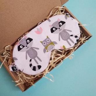 Маска для сна - енот киев, повязка на глаза, маска для єнот Лвів, маска девушке сова