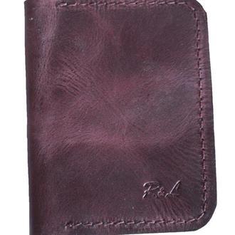 Маленький кожаный бумажник бордового цвета х1 (10 цветов)
