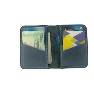 Маленький кожаный бумажник голубого цвета х1 (10 цветов)