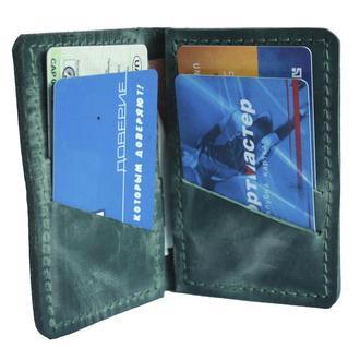 Маленький кожаный бумажник зелёного цвета х1 (10 цветов)