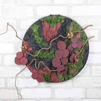 Картина интерьерная «Природная гармония» из стабилизированного мха, растений и природных элементов