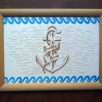 "Kартина ""Beautiful Ocean"", гравировка по дереву"