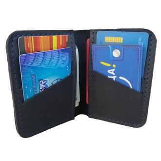 Маленький кожаный бумажник синего цвета х1 (10 цветов)