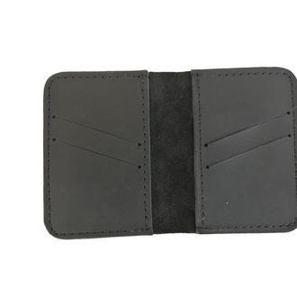 Маленький кожаный бумажник чёрного цвета х1 (10 цветов)