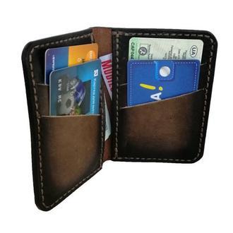 Маленький кожаный кошелёк градиент коричневого цвета рас1 (12 цветов)