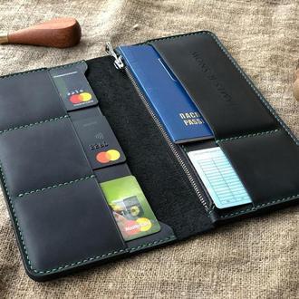 Длинный мужской кошелек с отделом для паспорта
