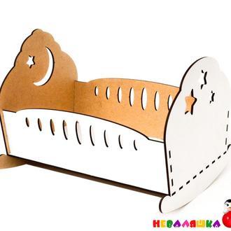 Кроватка-качалка деревянная ЛДВП 25 см кровать каталка для кукол пупсов дерев'яне ліжечко для ляльок