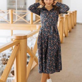 Платье из штапеля в цветочек миди Голубое