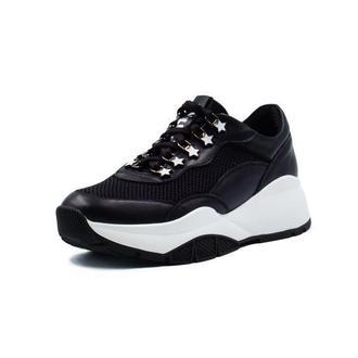 Черно-белые кожаные кроссовки